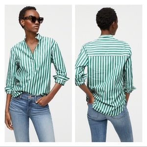 J Crew Band-Collar Popover Bold Stripe Tunic Top